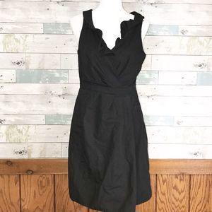 J. Crew ruffle black dress 8 #432